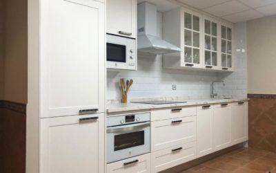Cocina con puerta moldurada